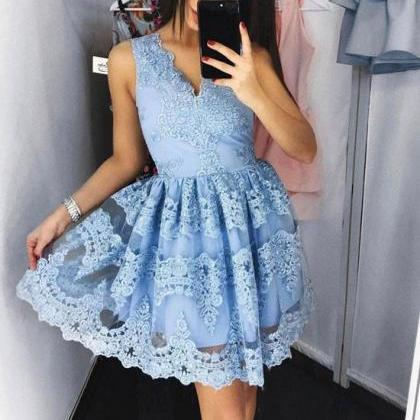 S423 Cute Blue Lace Short Prom Dres..