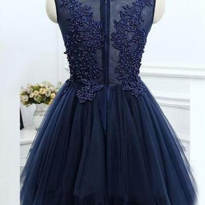 A166 A-Line Jewel Asymmetrical Navy..