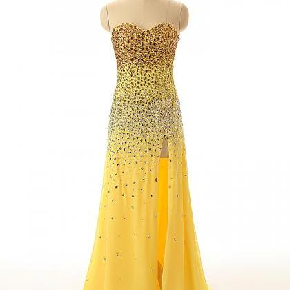 A45 Sweetheart Beaded Yellow Chiffo..