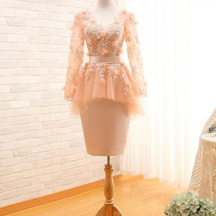 A50 Short Pink Lace Long Sleeve Hom..