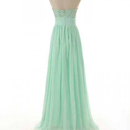 A88 Sweetheart Beaded Long Chiffon ..
