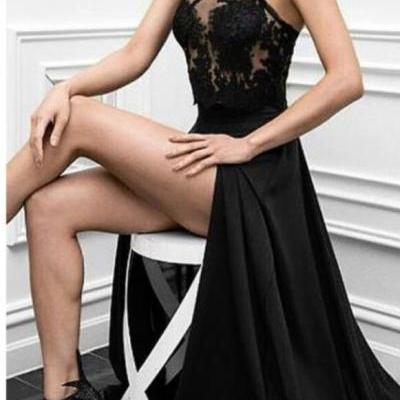 S12 Halter Prom Dress,Sleeveless Evening Gowns,Sexy A-Line Halter Black Lace Split-Front Long Prom Dress