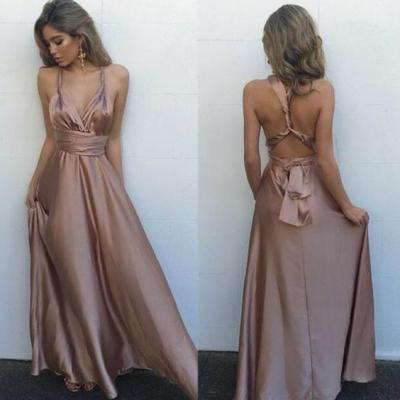 S35 Sexy V Neck Maxi Dress Backless Long Satin Prom Dress,V Neck Prom Dress, Floor-Length Evening Dress