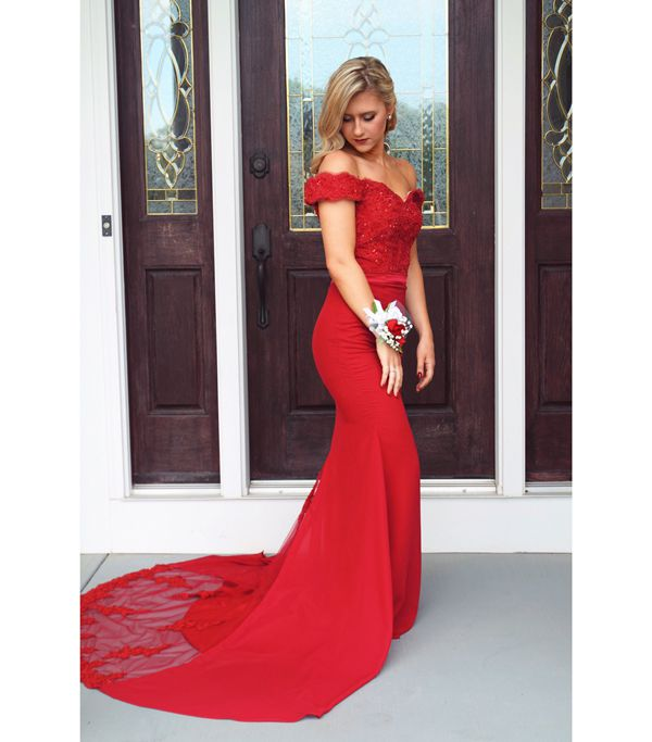 b2b165baf39f1 S93 Attractive Mermaid Attractive Mermaid Off Shoulder Red Lace Prom  Evening Dress,Off the Shoulder Prom Dress,Evening Dress