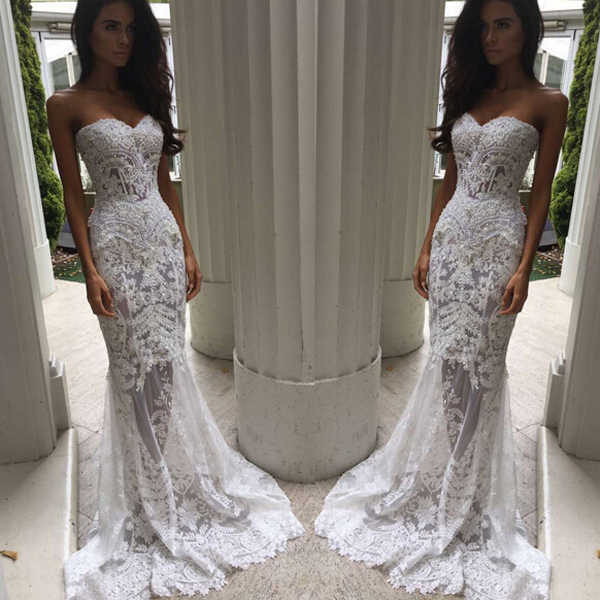 S114 Charming Sheath Column Sweetheart Sweep Train Lace Wedding Dresses with Appliques,Luxury Wedding Dress,Handmade Wedding Bridal Gowns,Wedding Dress
