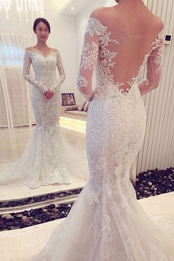 300f0f9b0916 S597 Charming Off The Shoulder Long Sleeves Lace Mermaid Wedding Dress,  Backless Lace Long Sleeve Wedding Dresses, Unique Wedding Bridal Gowns,Wedding  Dress