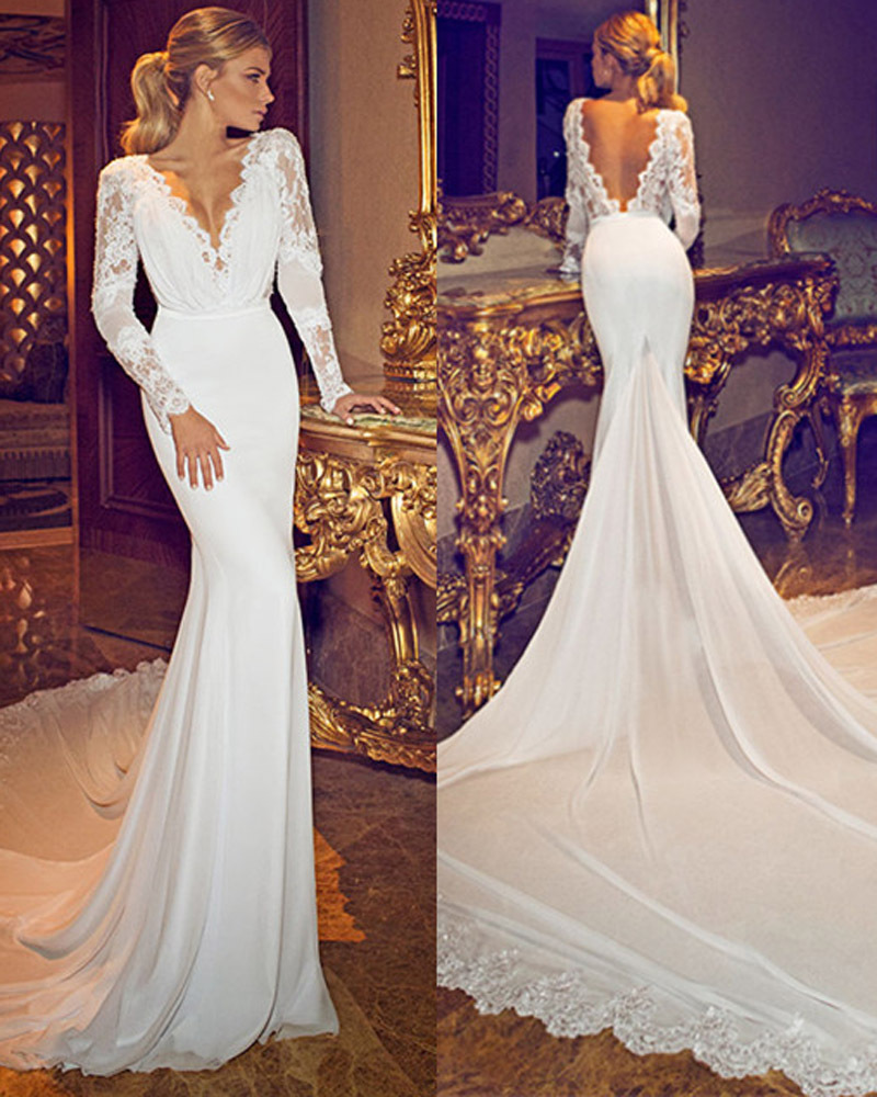 S600 Chiffon Lace Deep V Neck Long Sleeves Wedding Gowns Open Back