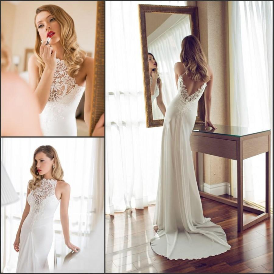 S602 Exquisite Wedding Dresses Backless Garden Sweep Train Lace Sheer Open Back Chiffon Bridal Ball Gowns A Line Simple