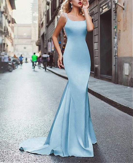 S743 Amazing Satin Neckline Mermaid Tuxedo Prom Dress,Mermaid Prom ...