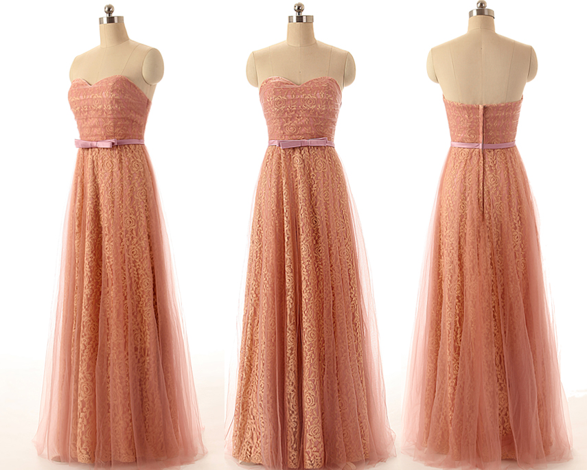 A29 Real Photos Bridesmaid Dresses, Empire Long Lace Evvening Gowns, Pink Bridesmaid Dress,Real Photo Dress,Prom Dress