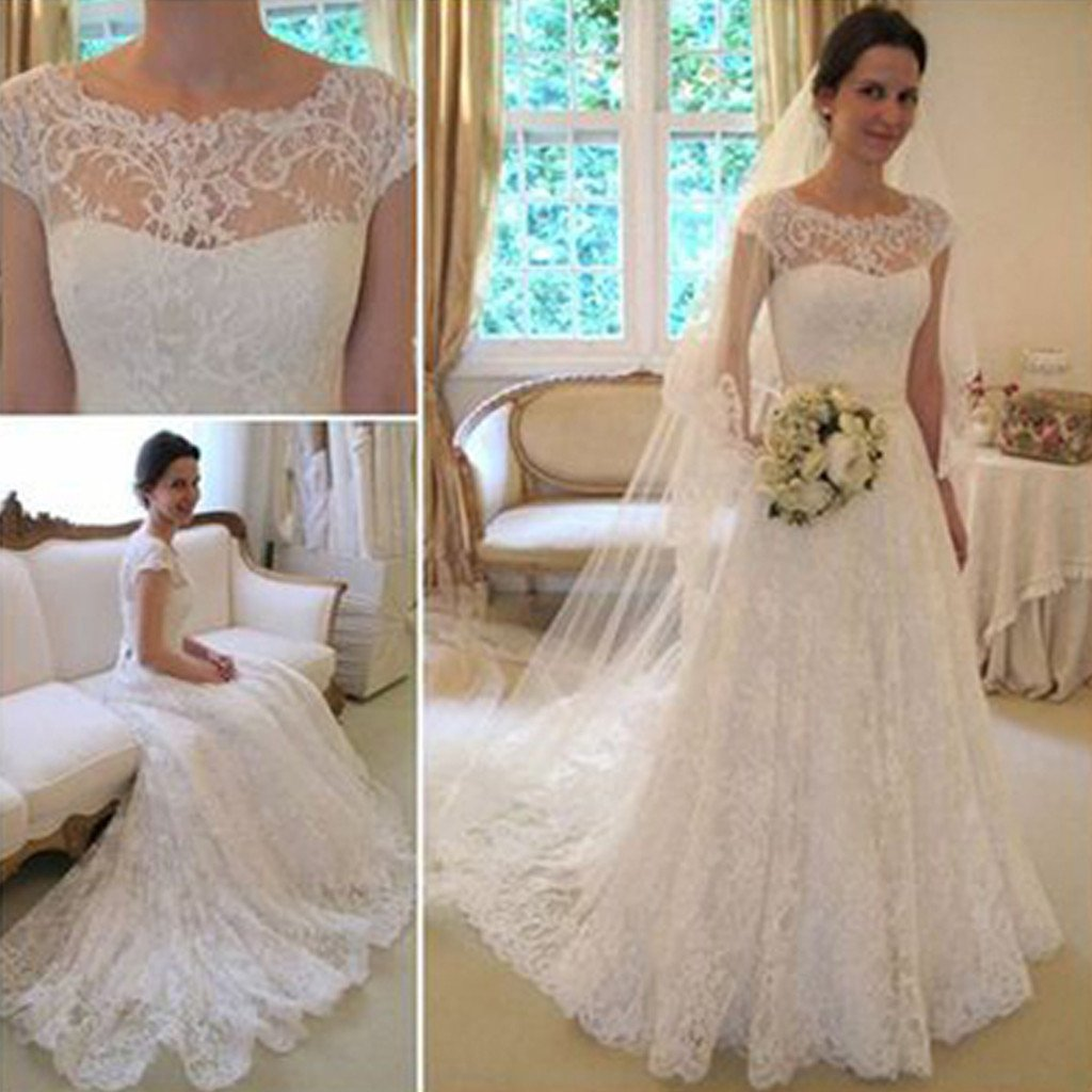 D260 Long A-Line Round Neck Illusion White Lace Wedding Party Dresses 6e3c8f39c