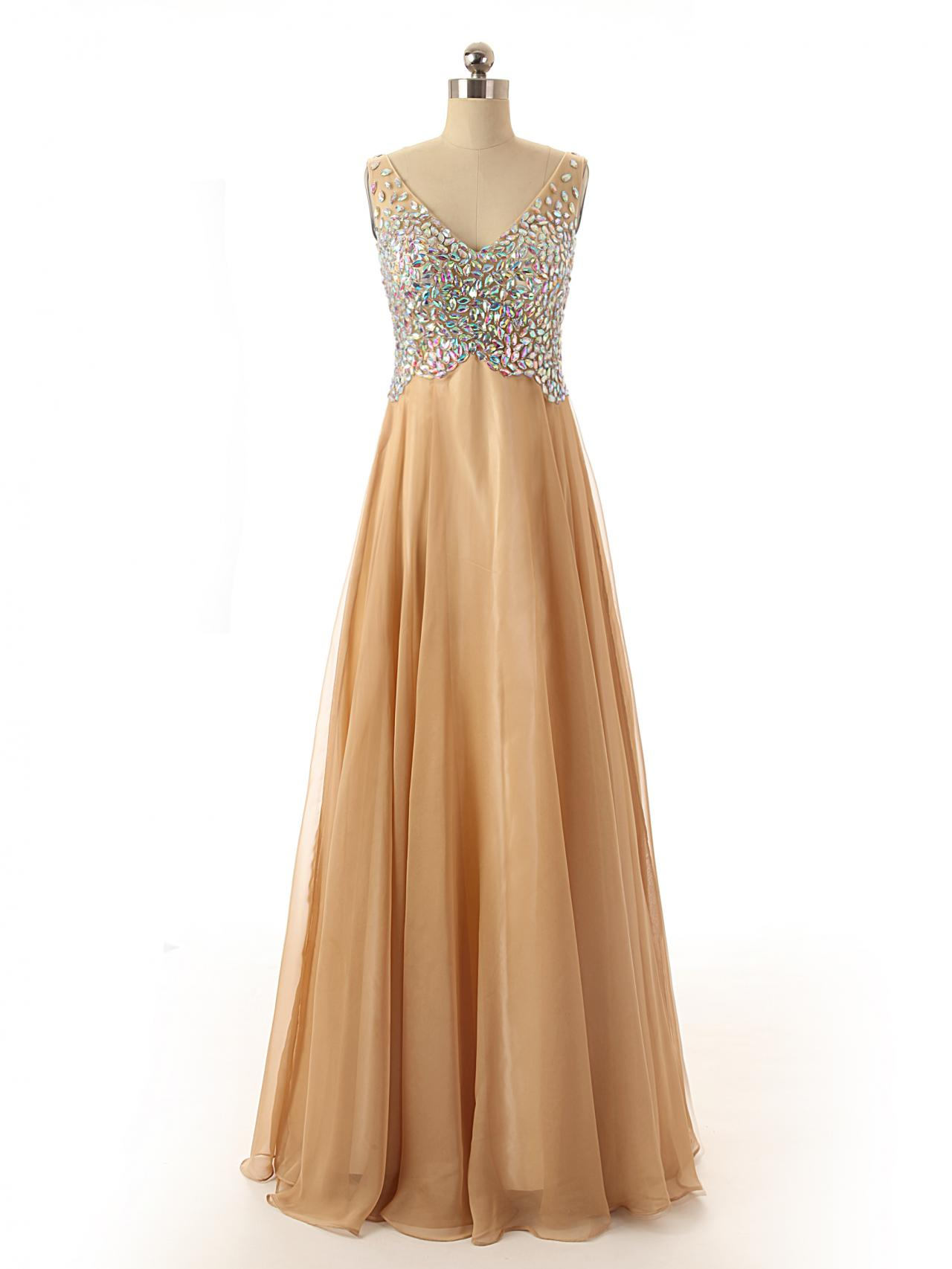 A51 V Neck Sleeveless Champagne Long Tulle Evening Gowns,Backless Real Photos Bridesmaid Dress