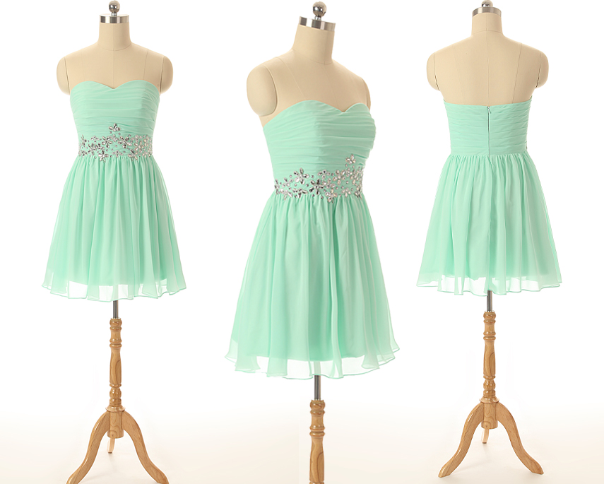 A56 Mint Bridesmaid Dresses,Empire Beaded Cocktail Dress,Sweetheart Short Chiffon Prom Dress