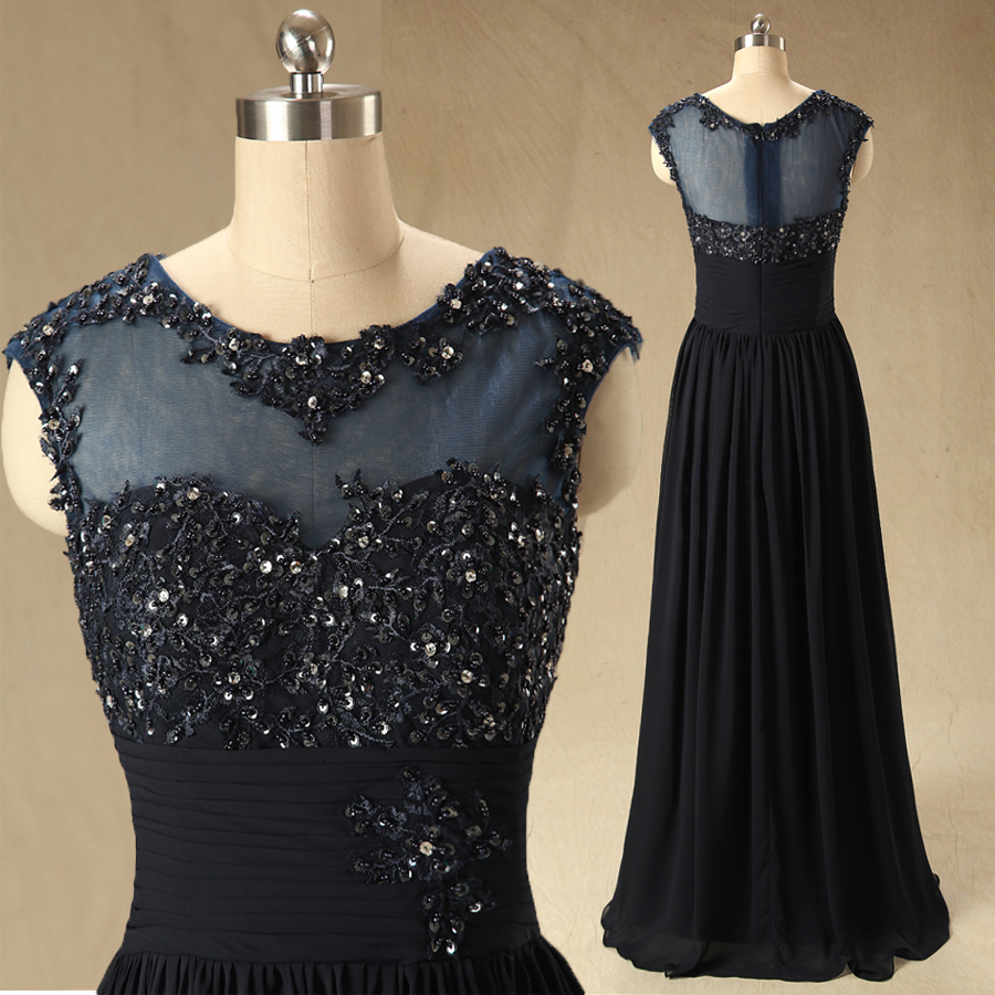 A63 Scoop Sleeveless Black Long Prom Gowns Evening Dresses, Real photos Bridesmaid Dress