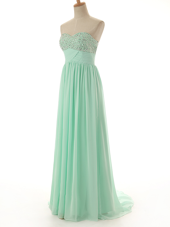 A88 Sweetheart Beaded Long Chiffon Evening Gowns,Mint Chiffon Prom Dress,Floor-Length Evening Dresses