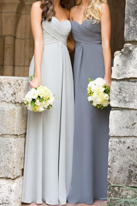 S6 A Line Empire Waist Sweetheart Silver Chiffon Long Bridesmaid Dress,Custom Made Gray Cheap Bridesmaid Dresses,Simple Maternity Evening Prom Dress