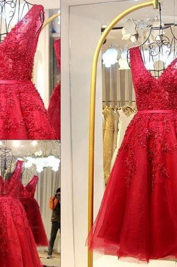 S69 Sweetheart Red Lace Beading Homecoming Dresses For Teens,Real Photo Dress,Handmade Beaded Prom Dress,Red Prom Dress Short