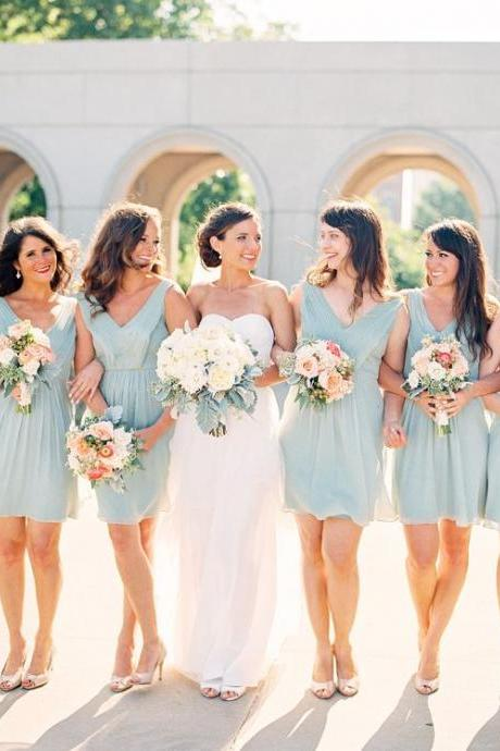 S95 Baby Blue Short Chiffon V-neck Bridesmaid Dresses,Short Bridesmaid Dress,Mint Prom Dress Short