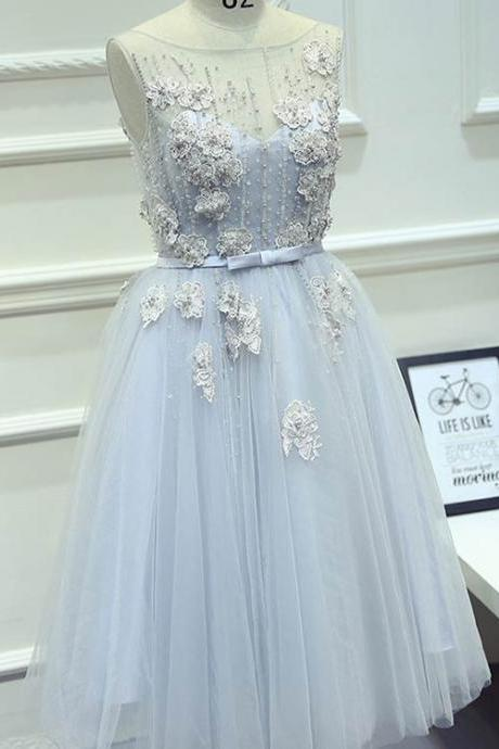 S98 Beautiful A-Line Round Neck Tea-Length Tulle Prom Dress with Appliques,Real Photo Dress,Lace Appliques Prom Dress