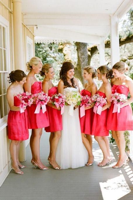 S99 Beautiful Watermelon Short Strapless Bridesmaid Dresses,Simple Cheap Bridesmaids Dresses,Bridesmaid Dress,Short Prom Dress