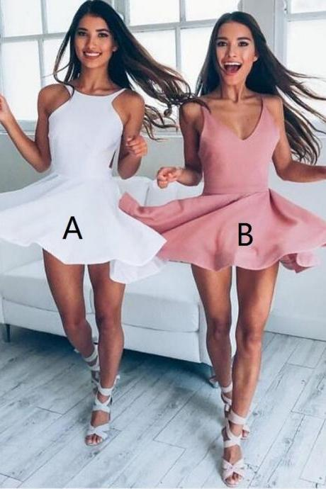 S118 Chic White Prom Homecoming Dress Jewel Sleevelss Short Open Back,Bridesmaid Dress,Short Prom Dress,Cocktail Dress