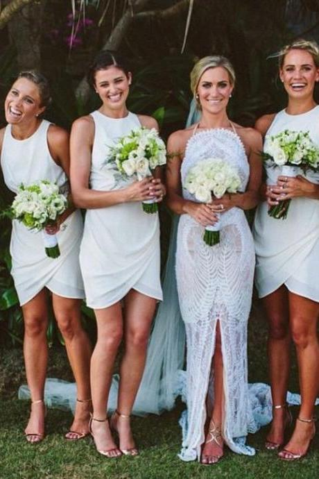 S147 Elegant Round Neck Sleeveless Short White Bridesmaid Dress,Cocktail Dress,Bridesmaid Dress