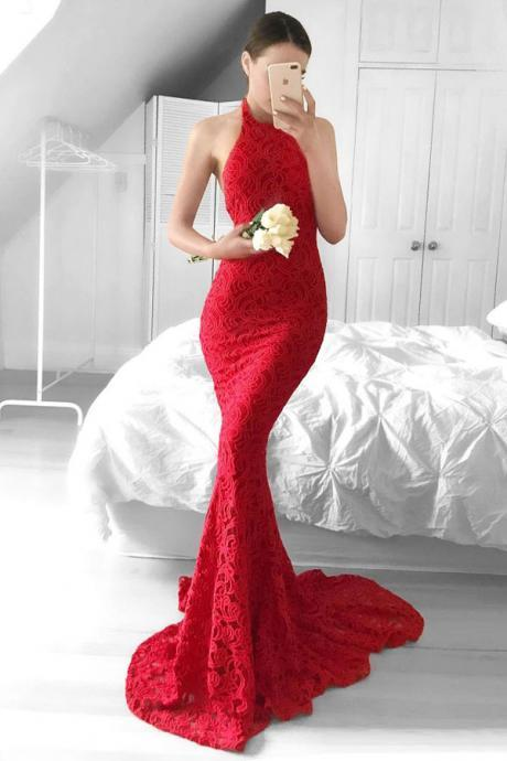 S159 Glamorous Mermaid Red Lace Halter Backless Sweep Train Prom Dress ,Sexy Mermaid Prom Dress,Evening Dress,Backless Prom Dress,Red Lace Wedding Dress