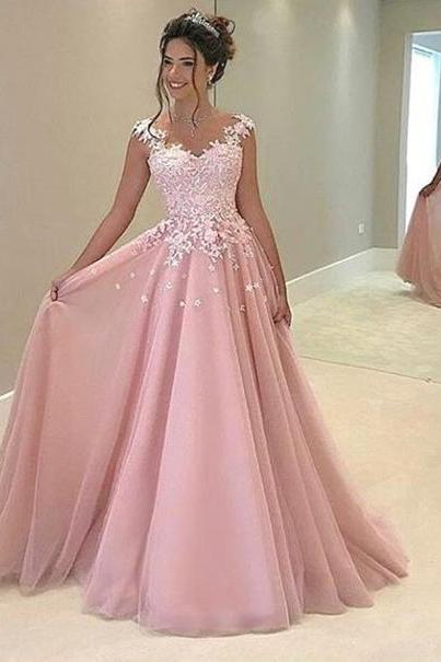 S179 High Fashion Pink Tulle Long Prom Evening Dress with Appliques,Pink Tulle Evening Dress,Lace Appliques Prom Dress,Prom Dress,Evening Dress