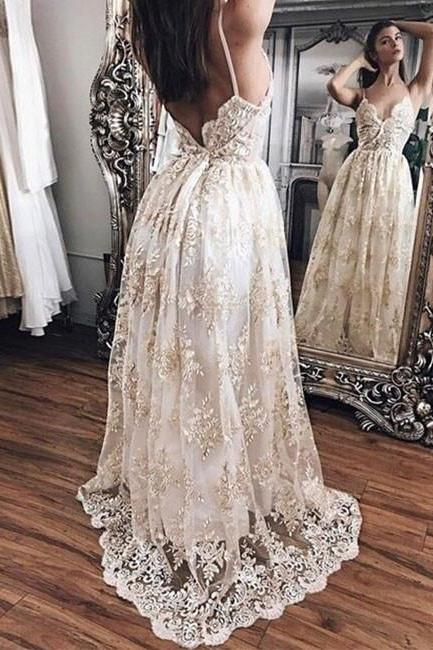 S200 New Arrival A-Line Spaghetti Straps Champagne Lace Long Prom Dress,Lace Wedding Dress,Wedding Bridal Gowns,Wedding Dress
