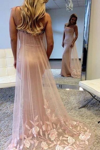 S201 Elegant A-Line Round Neck White Long Prom Dress with Beading,Strapless Prom Dress,Mermaid Prom Dress,Evening Dress,Prom Dress