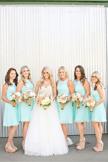 S208 Knee Length Simple Chiffon Bridesmaid Dresses,Cheap Bridesmaid Dress,Bridesmaid Dress
