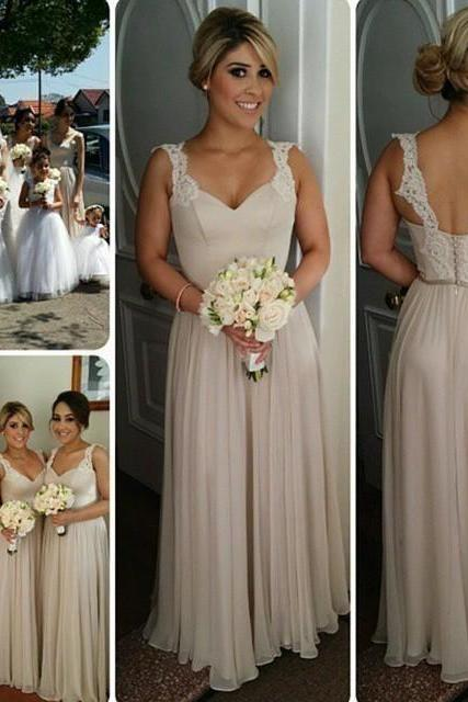 S209 Lace Straps A-line Chiffon Cheap Floor Length Bridesmaid Dresses,Bridesmaid Dress,Champagne Chiffon Prom Dress
