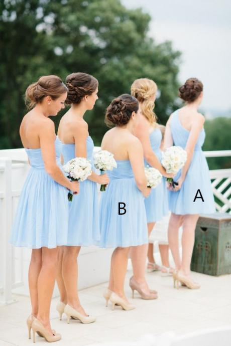 S212 Light Sky Blue Simple Cheap Short Pretty Bridesmaid Dresses,Bridesmaid Dress