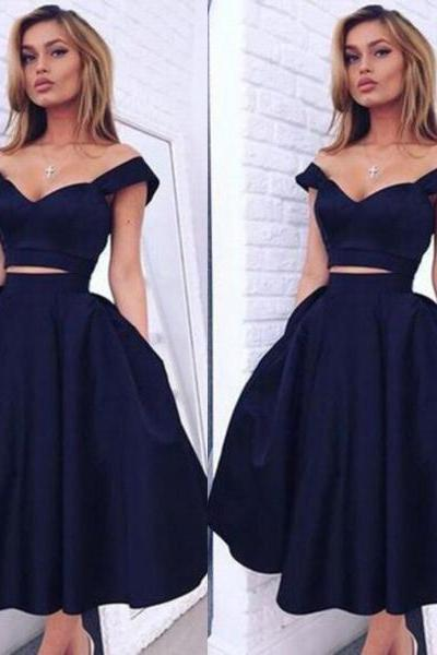S245 New-Arrival Two-piece Off-the-shoulder A-line Dark Navy Homecoming Dress,Short Prom Dress,Real Photo Dress