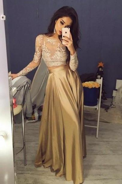 S271 Elegant Long Sleeves Crew Stain Prom Dress Evening Dress,Prom Dress,Evening Dress,Long Sleeve Dress