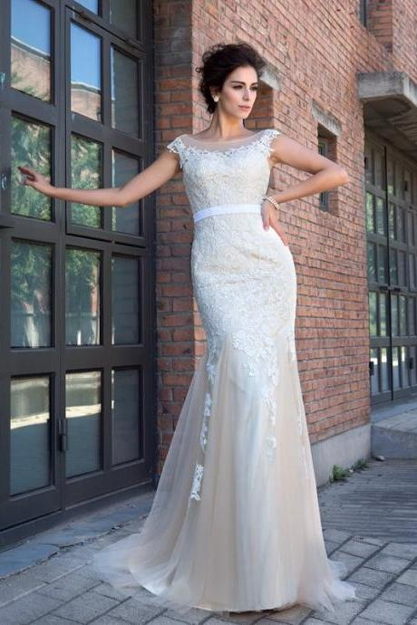 S298 Mermaid Sheer Neck Applique Short Sleeves Sweep Brush Train Net Dresses,Champagne Prom Dress,Mermaid Wedding Dress,Wedding Dress