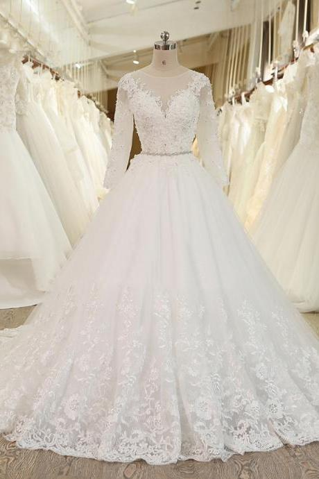 S431 Ball Gown Princess Wedding Dress With Crystal Sash Long Sleeves Lace Bridal Gowns,Long Sleeve Dress,Real Photo Dress,Long Sleeve Dress,Wedding Bridal Gowns