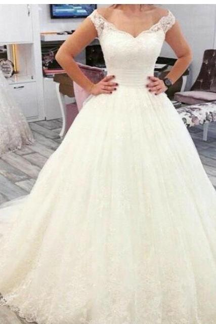 S433 Ball Gown Wedding Dresses Wedding Dress,A Line Wedding Dresses,Tulle Bridal Dress with Lace,Ball gown Wedding Dress,Wedding Dress