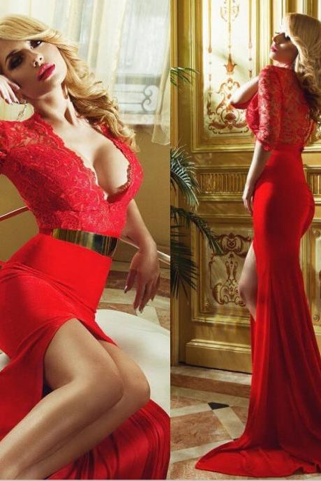 S476 Long Sleeve Dress,V Neck Prom Dress,Evening Dress,Red Chiffon Prom Dress,Evening Dress,Long Sleeve Dress,V Neck Prom Dress,Evening Dress
