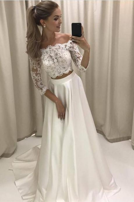 S508 Style Lace Sleeves Two Piece Wedding Dresses Off Shoulder Satin Beach Bridal Gowns,Long Sleeve Dress,Wedding Dress