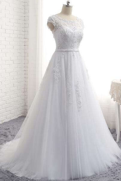 S522 Charming White A Line Prom Dresses Tulle Cap Sleeve Evening Gowns With Lace Bodice,Real Photo Dress,Wedding Dress