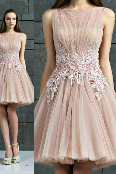 S527 Cheap homecoming dresses,A-Line Evening Dress,Tulle Evening Dress,Short Evening Dress,Appliques Evening Dress,Homecoming Dress,Cocktail Dress