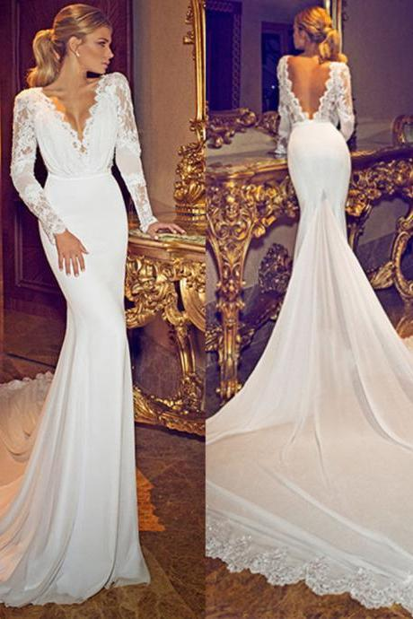 S600 Chiffon Lace Deep V Neck Long Sleeves Wedding Gowns Open Back Sexy Lace Wedding Bridal Gowns, Chapel Train Long Sleeve Wedding Dresses,Wedding Dress
