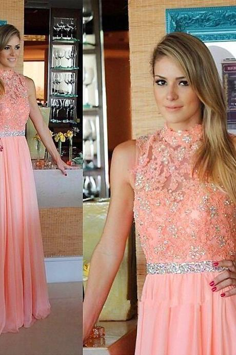 S678 Elegant A-line High Neck Coral Long Chiffon Prom Dress Evening Dress,prom Dress,Evening Dress
