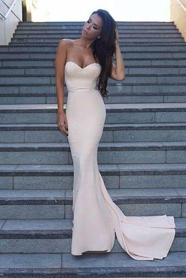 S700 Gorgeous Mermaid Long Strapless Evening Dress Prom Dress Bridesmaid Dress with Train,Prom Dress,Evening Dress