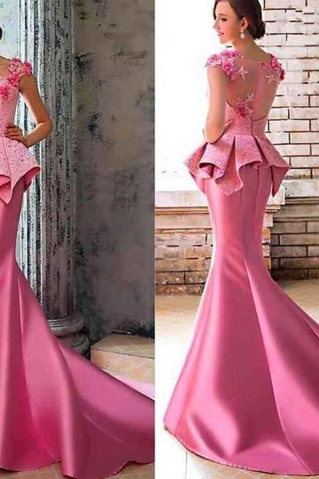 S745 Hot Pink Formal Dresses 2018 Charming Evening Dress, Mermaid Evening Dress, Sexy Evening Gowns, Lace Evening Dresses,Prom Dress,Evening Dress