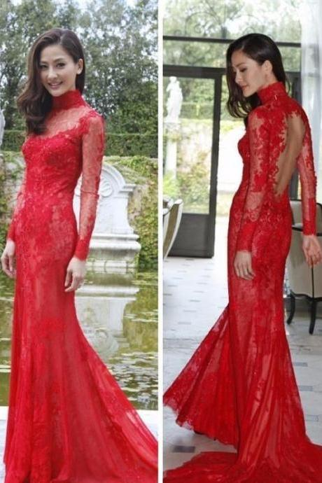 S748 Red Lace Prom Dress,Long Sleeve Dress,Evening Dress,prom Dress,Long Sleeve Dress,High Neck Prom Dress,Evening Dress,prom Dress