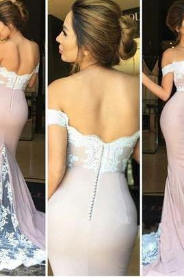 F2 Custom Made Off Shoulder Lace Mermaid Prom Dress, Lace Mermaid Formal Dress, Bridesmaid Dress