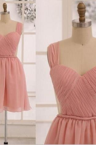 A11 Grace Blush Pink Prom Dresses,Chiffon Prom Dresses,Short Bridesmaid Dresses,See Through Backless Prom Dresses,Cute Bridesmaid Dresses,Lovely Evening Dresses,Real Photo Dress