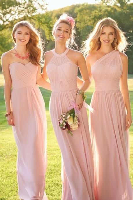 Custom Made Pink Chiffon Floor Length Bridesmaid Dress, Mismatched Bridesmaid Dress